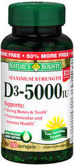 Nature's Bounty D-5000 IU Softgels Maximum Strength - 100 CAP