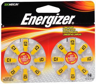 Energizer Zero Mercury Hear Aid Batteries AZ10DP-16 - 16 EA