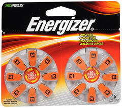Energizer Zero Mercury Hearing Aid Batteries AZ13DP-16 - 16 EA