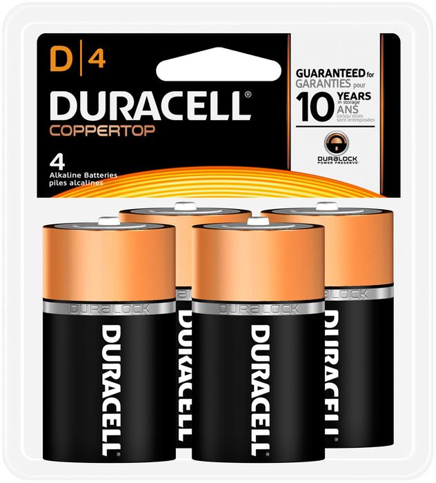 Duracell Coppertop Alkaline D Batteries 1.5 Volt (4) - 4 EA