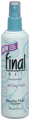 Final Net Hairspray Non-Aerosol Regular Hold Unscented - 8 OZ
