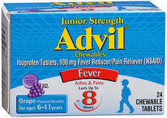 Advil Fever Reducer/Pain Reliever Chewable Tablets Junior Strength Grape Flavored - 24 TAB