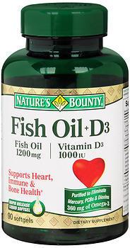 Nature's Bounty Fish Oil 1200 mg + D3 1000 IU Softgels - 90 CAP