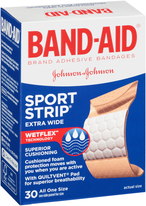 BAND-AID Sport Strip Adhesive Extra Wide Bandages - 30 EA