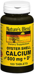 Nature's Blend Oyster Shell Calcium 500 mg Tablets + D - 100 TAB