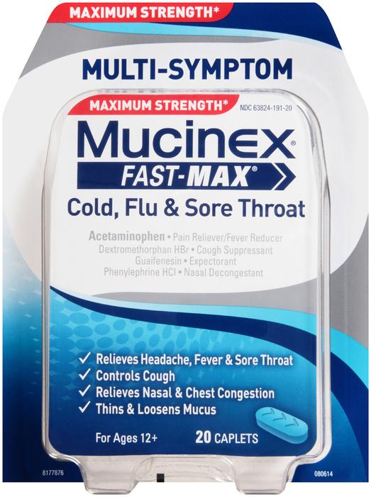 Mucinex Fast-Max Cold, Flu & Sore Throat Caplets - 20 CAP