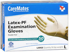 CareMates Latex-PF Examination Gloves Large - 50 EA