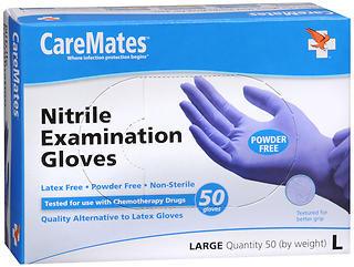 CareMates Powder Free Nitrile Examination Gloves Large - 50 EA