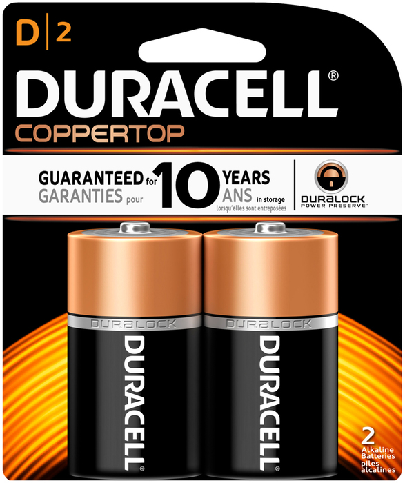 Duracell Coppertop D Alkaline Batteries 1.5 V - 2 EA