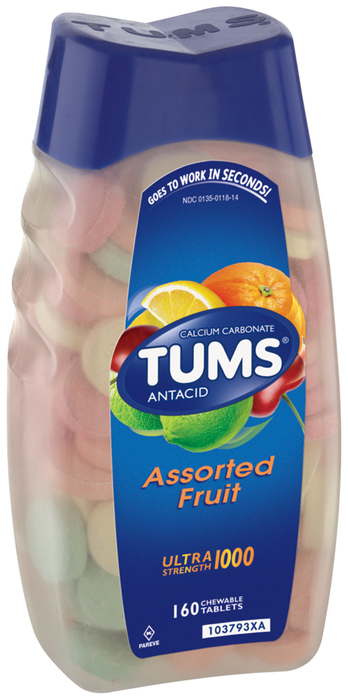 TUMS Ultra Strength 1000 Chewable Tablets Assorted Fruit - 160 TAB