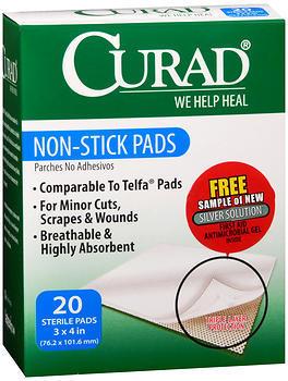 Curad Non-Stick Pads 3 Inches x 4 Inches - 20 EA