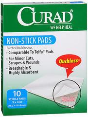 Curad Non-Stick Pads 3 Inches X 4 Inches - 10 EA