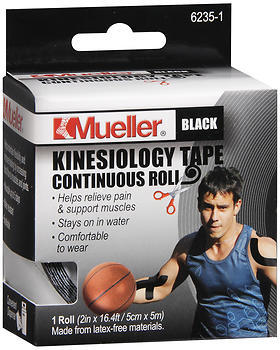 Mueller Kinesiology Tape 2 Inches X 16.4 Feet Black 6235-1 - 1 EA