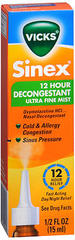 Vicks Sinex 12 Hour Decongestant Ultra Fine Mist - 0.5 OZ