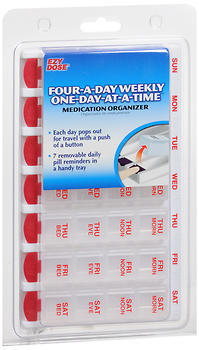 Ezy-Dose Medication Organizer Four-a-Day Weekly One-Day-at-a-Time - 1 EA