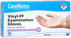 CareMates Vinyl-PF Examination Gloves Medium - 100 UNIT