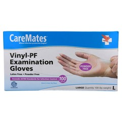 CareMates Vinyl-PF Examination Gloves Large - 100 UNIT