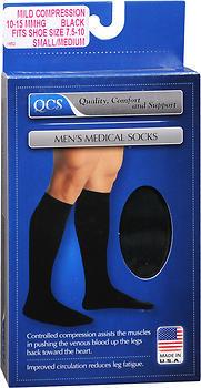 QCS Men's Medical Socks Mild Small/Medium Black - 1 EA