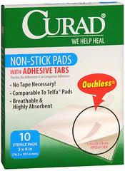 Curad Non-Stick Pads with Adhesive Tabs 3 in x 4 in - 10 EA
