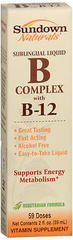 Sundown Naturals B Complex with B-12 Sublingual Liquid Vitamin Supplement - 2 OZ