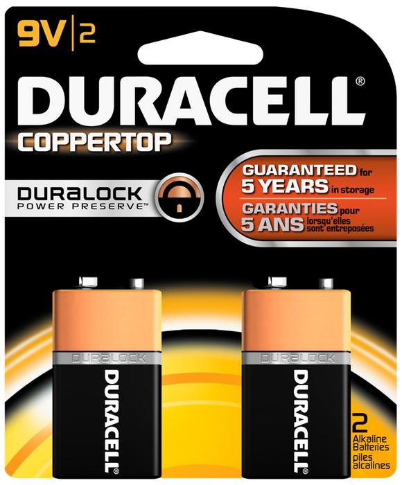 Duracell Coppertop Alkaline Batteries 9 Volt - 2 EA
