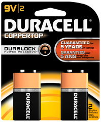 Duracell Coppertop Alkaline Batteries 9 Volt - 2 EA