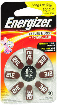 Energizer EZ Turn & Lock + PowerSeal Hearing Aid Batteries Size 312 - 8 EA
