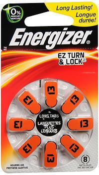 Energizer EZ Turn & Lock Hearing Aid Batteries Size 13 - 8 EA