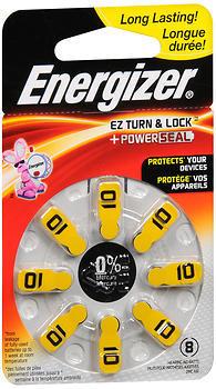 Energizer EZ Turn & Lock + Power Seal Hearing Aid Batteries Size 10 - 8 EA