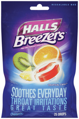 Halls Pectin Throat Drops, Non-Mentholated, Tropical Chill  - 25ea