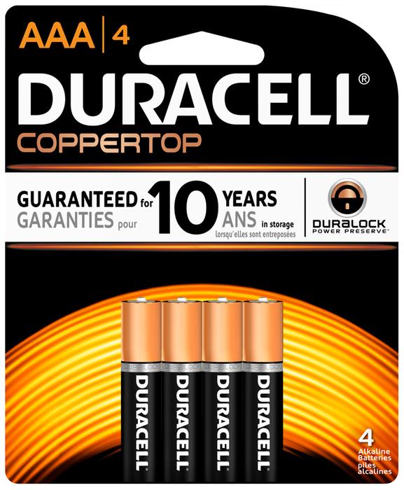 Duracell Coppertop Alkaline Batteries AAA - 4 EA