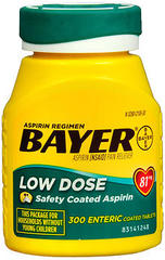 Bayer Low Dose Aspirin 81 mg Enteric Coated Tablets - 300 TAB
