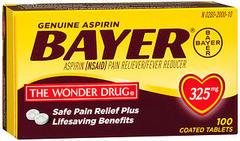 Bayer Aspirin 325 mg Coated Tablets - 100 TAB
