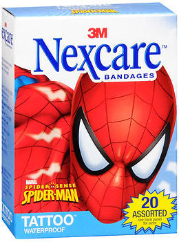 Nexcare Tattoo Waterproof Bandages Spider-Man Assorted Sizes - 20 EA