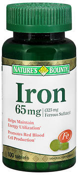 Nature's Bounty Iron 65 mg Tablets - 100 TAB