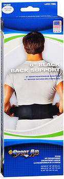Sport Aid 6 inch Black Back Support Medium Large - 1 EA