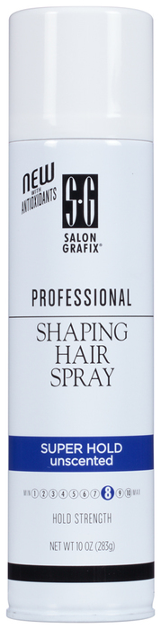 Salon Grafix Professional Shaping Hair Spray Styling Mist Super Hold Unscented - 10 OZ