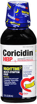 Coricidin HBP Nighttime Multi-Symptom Cold Liquid Cherry Flavored - 12 OZ