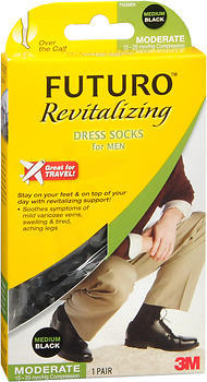 FUTURO Revitalizing Dress Socks for Men Medium Black Moderate Compression - 1 EA