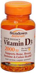 Sundown Naturals Vitamin D3 2000 IU Softgels - 120 CAP