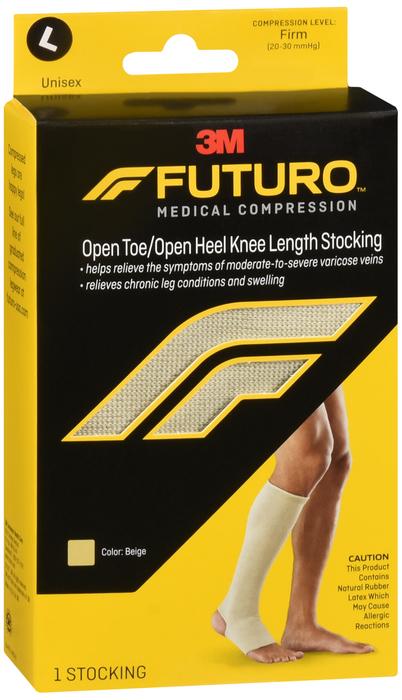 757d5795fd FUTURO Therapeutic Firm Open Toe/Heel Knee Length Stocking Large Beige - 1  EA