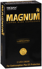 TROJAN MAGNUM Large Size Lubricated Latex Condoms - 12 EA