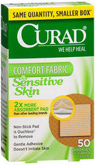 Curad Comfort Fabric for Sensitive Skin Bandages 1 Inch - 50 EA