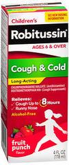 Robitussin Children's Cough & Cold Long-Acting Liquid Fruit Punch Flavor - 4 OZ