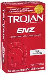TROJAN ENZ Non-Lubricated Premium Latex Condoms - 12 EA
