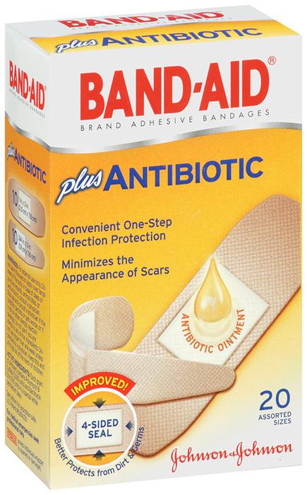 BAND-AID Plus Antibiotic Bandages Assorted Sizes - 20 EA