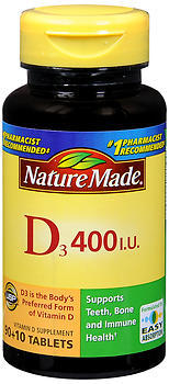 Nature Made Vitamin D3 400 IU Dietary Supplement Tablets - 100 TAB