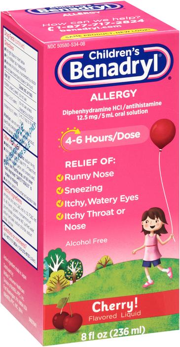 Benadryl Children's Allergy Liquid Cherry - 8 OZ