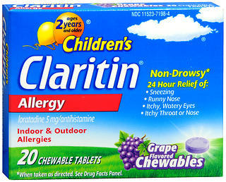 CLARITIN Children's 24 Hour Allergy Chewable Tablets Grape Flavored - 20 TAB