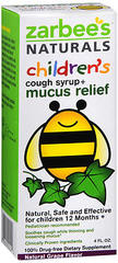 Zarbee's Naturals Children's Cough Syrup + Mucus Relief Natural Grape Flavor - 4 OZ